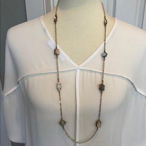 LOFT beautiful long gold unique iridescent beads